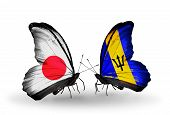 Two Butterflies With Flags On Wings As Symbol Of Relations Japan And Barbados