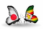 Two Butterflies With Flags On Wings As Symbol Of Relations Japan And Zimbabwe