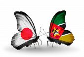 Two Butterflies With Flags On Wings As Symbol Of Relations Japan And Mozambique