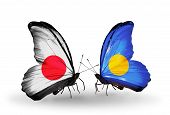 Two Butterflies With Flags On Wings As Symbol Of Relations Japan And Palau
