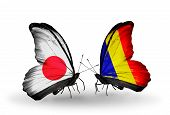 Two Butterflies With Flags On Wings As Symbol Of Relations Japan And Chad, Romania