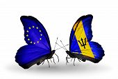 Two Butterflies With Flags On Wings As Symbol Of Relations Eu And Barbados