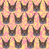 Abstract Geometric Polygonal Lynx Seamless Pattern