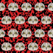 Polygonal Geometric Triangle Abstract Owl Seamless Pattern