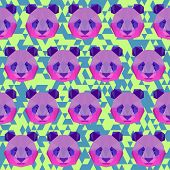 Bright Colored Polygonal Geometric Triangle Abstract Panda Seamless Pattern Background