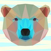 Mixed Colored Abstract Geometric Polygonal White Bear