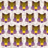 Polygonal Geometric Triangle Abstract Wolf Seamless Pattern