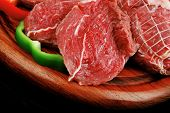 raw meat on wood over white background