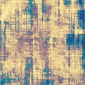Weathered and distressed grunge background with different color patterns: purple (violet); cyan; blue; yellow (beige)