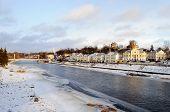 Frozen River Tvertsa In Ancient Russian Town Torzhok