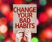 Change Your Bad Habits card with colorful background with defocused lights
