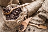 Coffee Beans In Coffee Bag Made From Burlap
