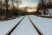 Train Tracks in the Snow