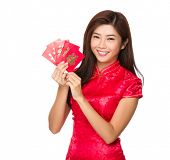 Woman hold with lucky pocket money