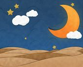 stock photo of crescent-shaped  - Crescent Moon in Night Sky Cutting Paste Paper - JPG