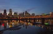 Portland Oregon In A Blue Hour Lights.