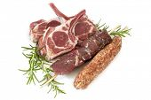 stock photo of souvlaki  - Lamb cutlets - JPG