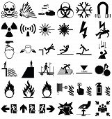 image of hazardous  - Black and white silhouette hazard danger and emergency signage related graphics collection isolated on black background - JPG