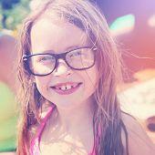 pic of nerd  - Little girl with nerd glasses on  - JPG