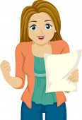 picture of pre-adolescent girl  - Illustration of a Girl Happy with the Results on her Paper - JPG