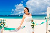 stock photo of wedding arch  - Wedding ceremony on a tropical beach in blue - JPG