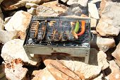picture of brazier  - fresh red fish fried on a brazier with hot coals - JPG
