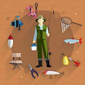 stock photo of rod  - Fisherman in overalls with a fishing rod in his hands - JPG