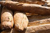stock photo of baguette  - Baguettes on display at a French market - JPG