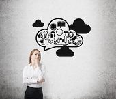 image of wall cloud  - Young business lady is thinking about expanding of the business ideas - JPG