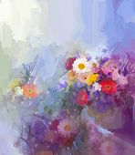 stock photo of daisy flower  - Abstract flower painting - JPG