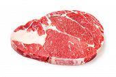 foto of rib eye steak  - Close up raw beef rib eye steak isolated on white  - JPG