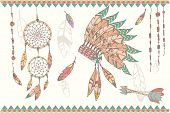 pic of headdress  - Hand drawn native american dream catcher indian chief headdress feathers beads and arrows vector illustration - JPG