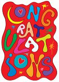 stock photo of congrats  - Card with a congratulation of colored letters and stars - JPG