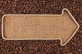 picture of sackcloth  - Pointer made from rope with coffee beans lying on sackcloth with space for your text - JPG