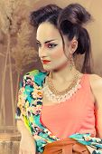 stock photo of geisha  - Stylized portrait of a Japanese geisha with bright make up - JPG