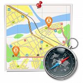 foto of compasses  - Map with route and pointers - JPG