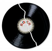 pic of lp  - A broken LP vinyl record with the legend ROCK and a circle of piano keys all over a white background - JPG