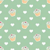 picture of mint-green  - Tile vector pattern with cupcake and hearts on mint green background for seamless decoration wallpaper - JPG