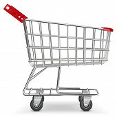 picture of trolley  - Empty Supermarket Trolley isolated on white background - JPG