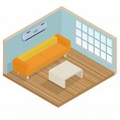 picture of lounge room  - Isometric interior lounge room  - JPG