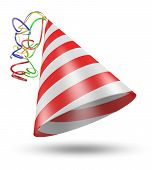 image of birthday hat  - Red and white striped birthday party hat with colorful ribbons rendered in 3D - JPG