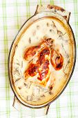 pic of stew pot  - Chicken pot stewed with milk rosemery and mushrooms - JPG