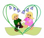 picture of elf  - Two small elves standing together in a heart shaped of bluebells - JPG