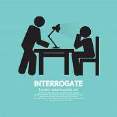 picture of interrogation  - Police Interrogate Black Graphic Symbol Vector Illustration - JPG