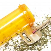 stock photo of ganja  - Marijuana and Car Key on a White Background - JPG