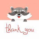picture of raccoon  - Cute raccoon says thank you - JPG