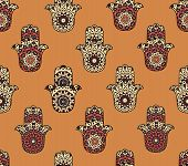 picture of hamsa  - Drawing of a seamless pattern with different hamsa on orange background - JPG