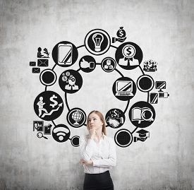 picture of ascension  - Beautiful blonde business woman is thinking about business management process - JPG