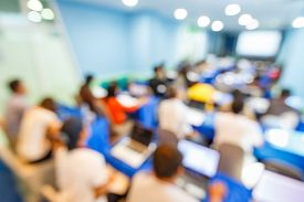 picture of seminar  - Abstract blurred people lecture in seminar room education concept - JPG