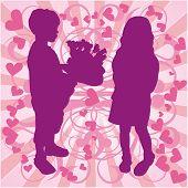 Silhouette Boy & menina, ilustração de amor
